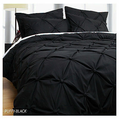 3 Pce PUFFY Black Ruched Soft Feel Quilt Doona Duvet Cover Set QUEEN