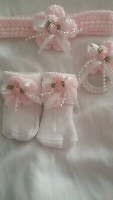 Headband, socks & Magnetic pacifier doll clothes  for reborn doll NB