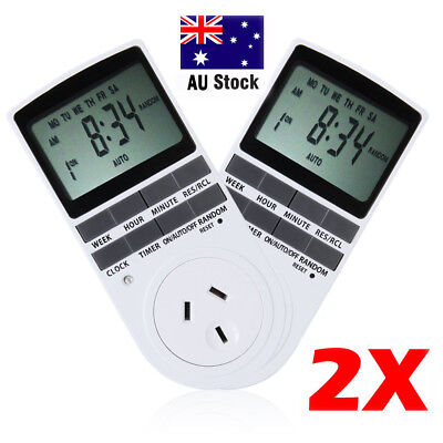 2X 7 Days Plug-in Electronic LCD Programmable Digital Timer Socket Switch AU