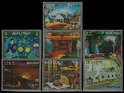 BHUTAN 1969-7 Different Steel Foil Stamps-MNH-History of Steel Making