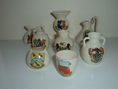 8 Pieces Of China Crested Ware Including Carlton Ware And Arcadian - Good Cond.