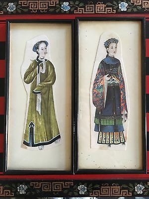 Antique Chinese Pith Rice Paper Paintings