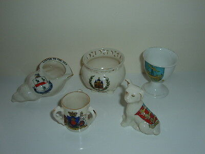 5 Pieces Of China Crested Ware Including Arcadian And Others - All In Good Cond.