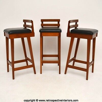 SET OF 3 DANISH TEAK BAR STOOLS BY ERIK BUCH FOR DYRLUND VINTAGE 1960's
