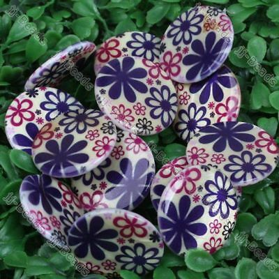 30mm MOP Shell Flower Flat Coin Round Loose Beads 1 Str