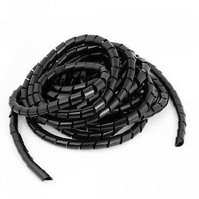 6.5M Flexible Black PE Polyethylene Spiral Cable Wire Wrap Tube 12mm, New