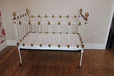 Shabby Chic Victorian Brass & Iron Cot, day bed, or antique doll display