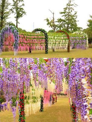 12 Bunches Artificial Hanging Flower Vine Silk Wisteria Wedding Christmas Party