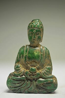 Delicate Chinese Old Jade Hand Carved Buddha Statue Sd11