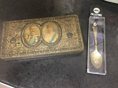 Vintage George V  And Queen Mary Tin And Collectors Spoon
