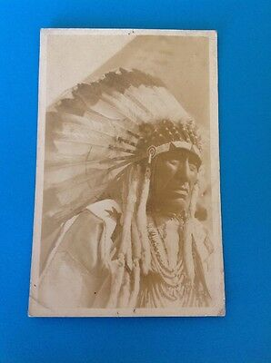 Original Indian Chief Black And White Postcard Made In Canada