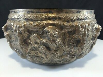 Amazing Vintage 925 Sterling Silver Siam Thai Repose Storyteller Bowl Dancers O2