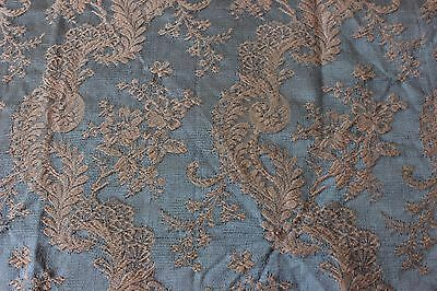 "Lovely Antique c1880 French Silk Brocaded Damask~Florals & Lace Motif~33""LX25""W"