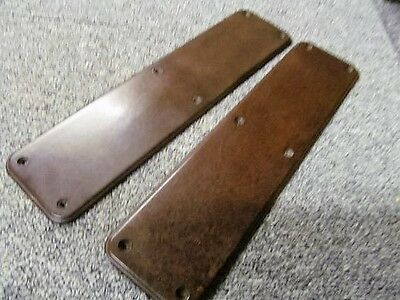 Pair of Brown Bakelite Finger Plate Push Door Handle Art Deco 1930's Vintage Old