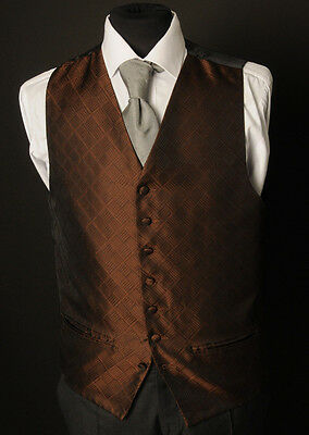 W - 1107.mens And Boys Chocolate Brown Mosaic Waistcoat Wedding/ Dress/ Formal
