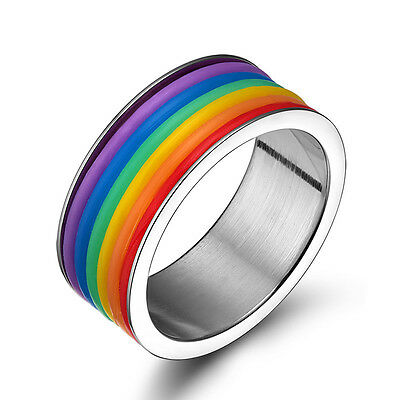 316L Stainless Steel Rainbow Rings gay pride Lesbian jewelry for men and women