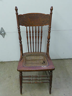 Antique Wood Cane Seat Dragon carved back Parts or Repair