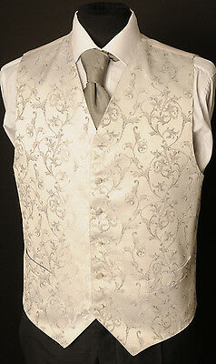 W - 1106.mens Silver Grey Floral Wedding Waistcoat/ Dress/ Formal