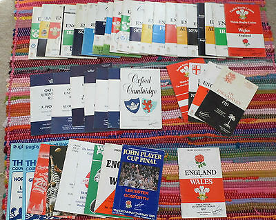 England International Five Six Nations Rugby Programmes Autographs 1980 / 90s