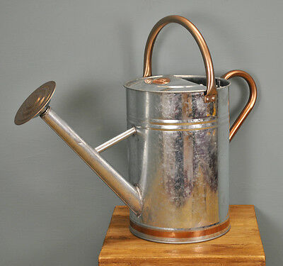 Gardman Copper Trim Vintage Steel Watering Can Holds 9 Litres / 2 Gallons
