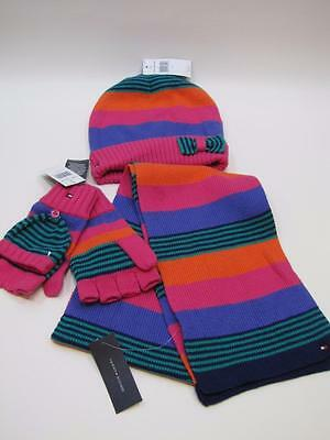 NWT Girls Tommy Hilfiger Beanie & Matching Scarf Gloves Set Multi Colored 8-10