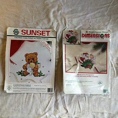 2  Counted Cross Stitch Dimensions 8482 Santa & Angel , Sunset 18351 Bear & Ange