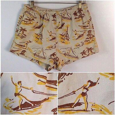 Vintage 1940s 50s White Surfer Print Hawaiian Novelty Swimming Trunks Shorts S