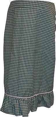 USED Back To school Girls Green And White Checked Skirt 10 -11 Years (E.A)