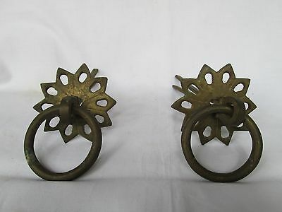 Old vintage brass round table drawer cabinet wardrobe box door handle pull set