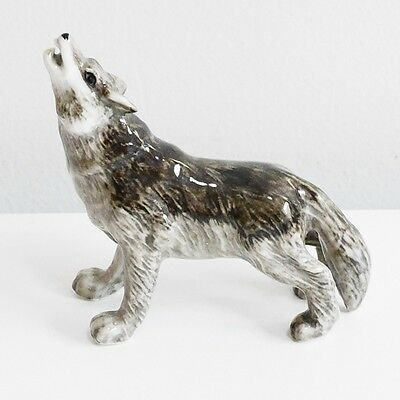 Howling Wolf Animal Ceramic Figurine Miniature Home Decorate Collectible Gift 1