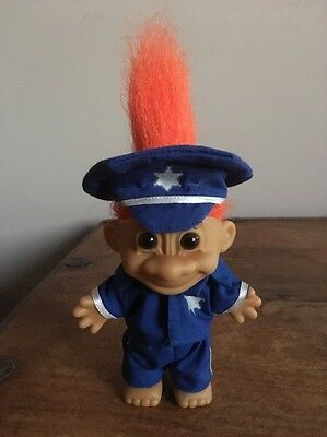 "Russ Troll Policeman 4.5"" Orange Hair Brown Eyes"