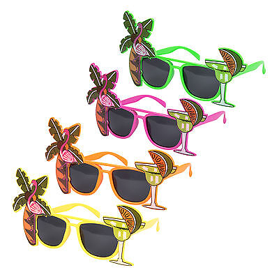Set of 4 Assorted Novelty Tropical Hawaiian Beach Party Fancy Dress Glasses