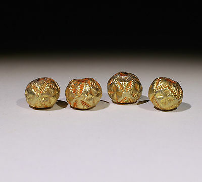 4 X Post Medieval Gold Beads - No Reserve!