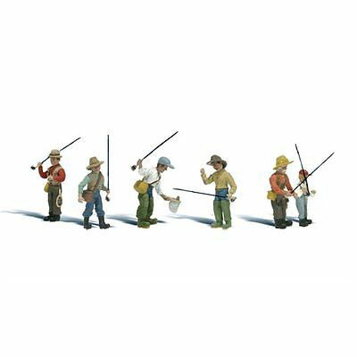 Painted Fly Fishermen (OO/HO figures) Woodland Scenics A1910 free post