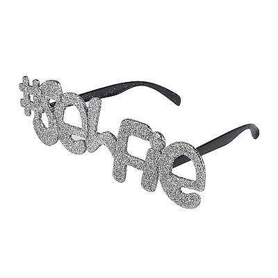 Novelty Large Silver Glitter '# SELFIE' Fancy Dress Glasses