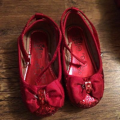 Infant Girls Size 6 Christmas Red Sparkle Party Shoes - debenhams