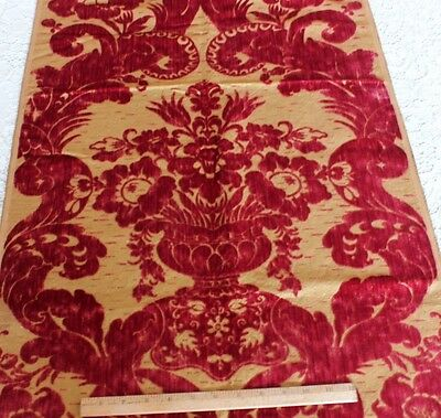 Beautiful & Rare French 19thC Victorian Silk Cut Velvet Home Dec Sample Fabric