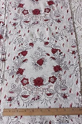 French Provencal Antique c1770 Hand Blocked Linen Textile Fabric~Quilts, Study