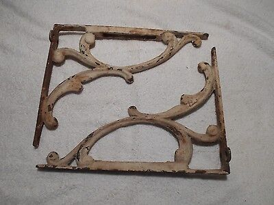 Pair of Antique Cast Iron Brackets Shabby Chic Victorian