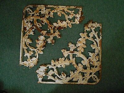 2 Antique Cast Iron Brackets Corbels Shabby Chic Victorian Oak Leaves Acorns 19""