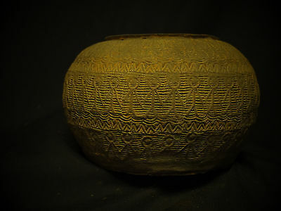Chinese compressed jarlet, Han Dynasty pottery, relief decorated