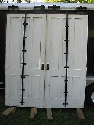 Victorian Hanging Sliding Pocket Doors Track Salvage Decorator Parlor DR Library