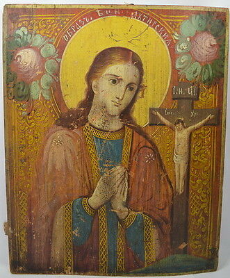 VIRGIN MARY OF AKHTYRKA - ANTIQUE OLD RUSSIAN WOODEN ICON, BIG, 520mm x 420mm