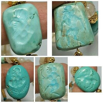 5 Old Turquoise intaglio stone & crystal stone Beads Necklace # F