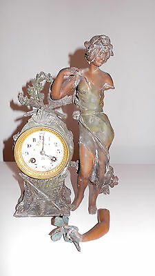 """Vintage French Japy Freres """"Marianne"""" Figure Spelter Gilt Clock"""