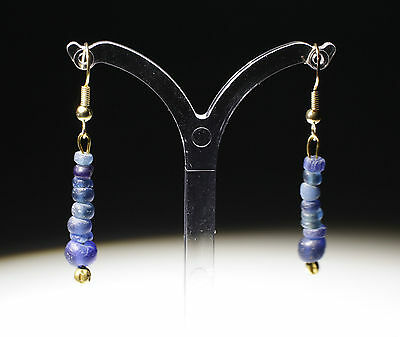 Ancient Roman Gold & Blue Glass Bead Earrings - No Reserve!