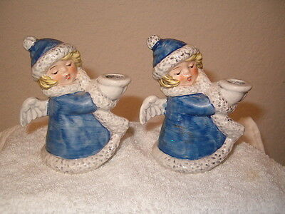 Goebel. W. Germany, set of Angel Candle Holders .Vintage- Blue *LOOK*