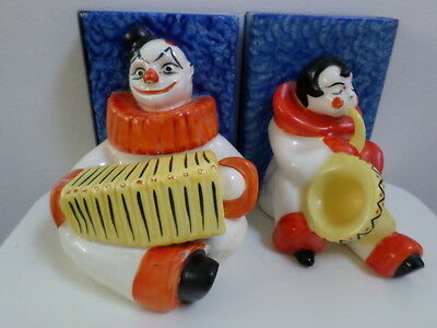 Art Deco Czechoslovakia Pottery Hand Painted Jazz Age Bookends By Ditmar Urbach