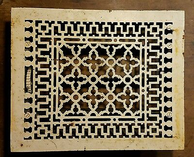 "Ornate Cast Iron  Heating Grate Register Vent  w/Louvers Fits ""12 x 15"" Hole"