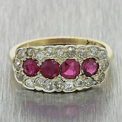 1880s Antique Victorian 14k Solid Yellow Gold .60ctw Ruby Diamond Ring